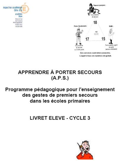 Livret des l ves education la sant espace sant s curit - Apprendre a porter secours cycle 3 ...
